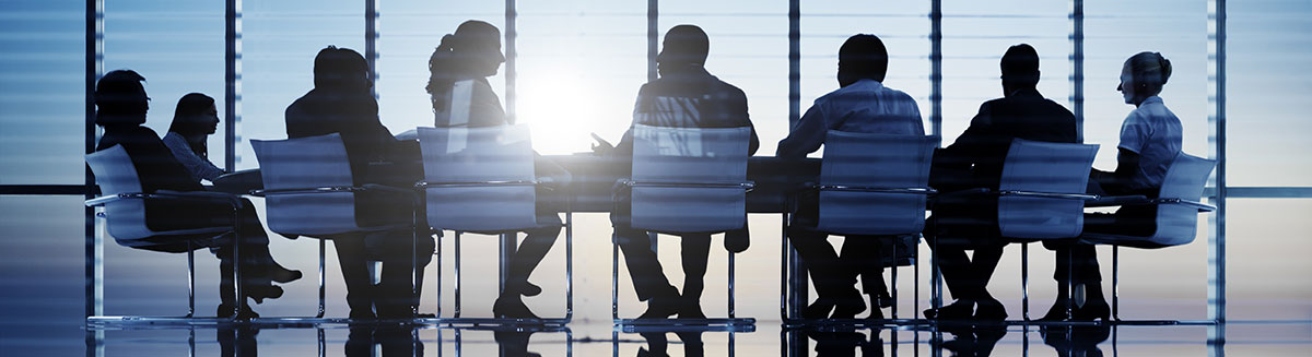Image of people sitting around board room table